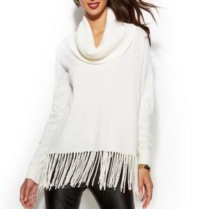 Michael Kors winter white fringe sweater medium